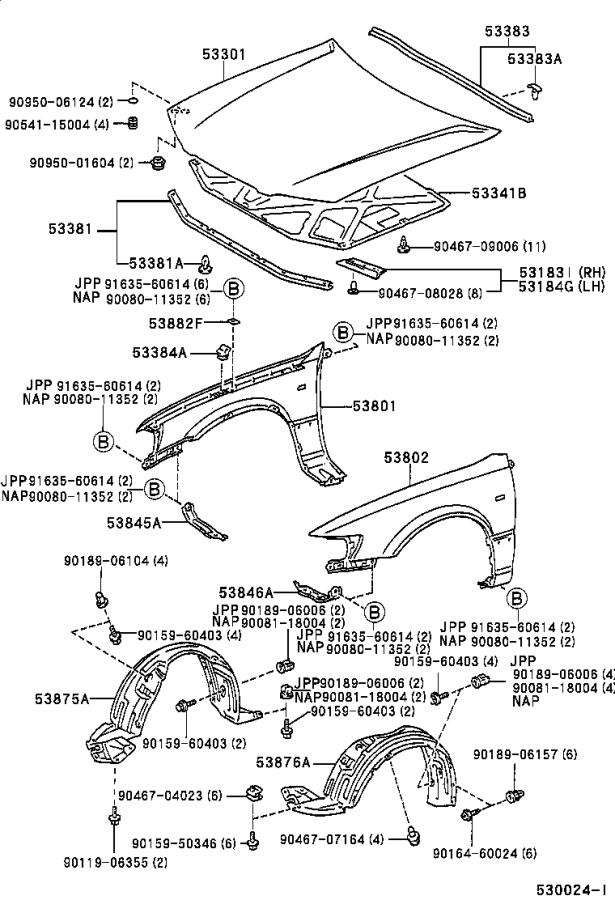 Diagram HOOD & FRONT FENDER for your 1998 Toyota Camry