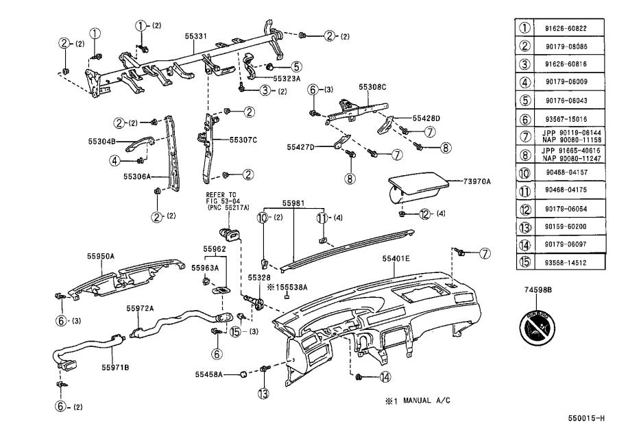 Diagram INSTRUMENT PANEL & GLOVE COMPARTMENT for your Toyota Camry