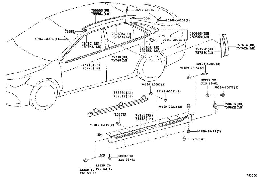 Diagram SIDE MOULDING for your 2013 Toyota Camry