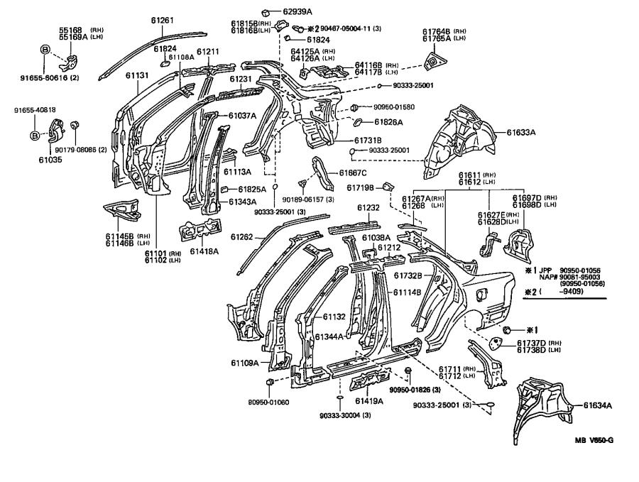 Diagram SIDE MEMBER for your 1996 Toyota Camry