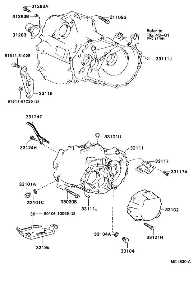Diagram CLUTCH HOUSING & TRANSMISSION CASE (MTM) for your 1996 Toyota Camry