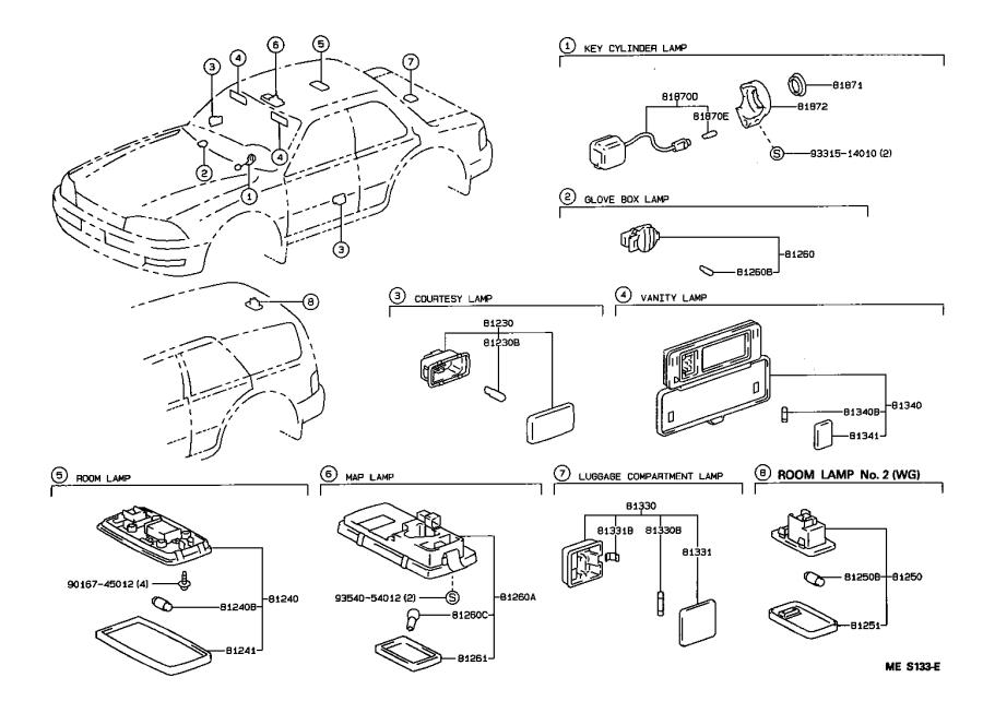 Diagram INTERIOR LAMP for your 1992 Toyota Camry